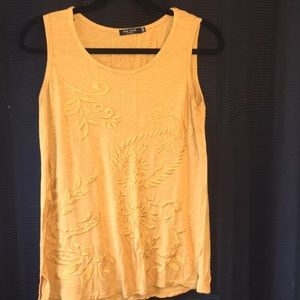 Mustard Yellow Embroidered Top- Max Jeans